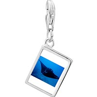 Link Charm Bracelet - 925  sterling silver ocean stingray photo rectangle frame link charm Image.