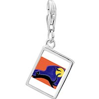 Link Charm Bracelet - 925  sterling silver black cat and bat photo rectangle frame link charm Image.