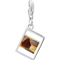 Link Charm Bracelet - 925  sterling silver monet wheatstack photo rectangle frame link charm Image.