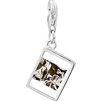 Link Charm Bracelet - 925  sterling silver picasso guernica art photo rectangle frame link charm Image.
