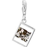 Link Charm Bracelet - 925  sterling silver picasso guernica art photo rectangle frame link charm Image.