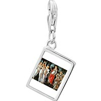 Link Charm Bracelet - 925  sterling silver botticelli primavera art photo rectangle frame link charm Image.