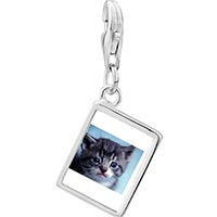 Link Charm Bracelet - 925  sterling silver grey kitty photo rectangle frame link charm Image.