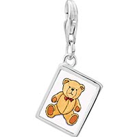Link Charm Bracelet - 925  sterling silver teddy bear red bow photo rectangle frame link charm Image.