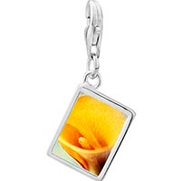 Link Charm Bracelet - 925  sterling silver yellow calla lily flower photo rectangle frame link charm Image.