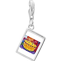 Link Charm Bracelet - 925  sterling silver birthday cake with candles photo rectangle frame link charm Image.