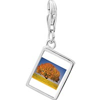 Link Charm Bracelet - 925  sterling silver tree in autumn photo rectangle frame link charm Image.