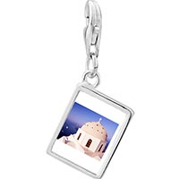 Link Charm Bracelet - 925  sterling silver cross on a church photo rectangle frame link charm Image.