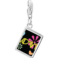 Link Charm Bracelet - 925  sterling silver love hearts and flowers photo rectangle frame link charm Image.