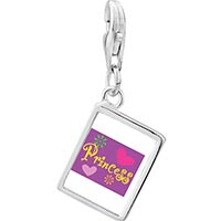 Link Charm Bracelet - 925  sterling silver princess hearts and flowers photo rectangle frame link charm Image.
