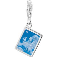 Link Charm Bracelet - 925  sterling silver blue sky and clouds photo rectangle frame link charm Image.