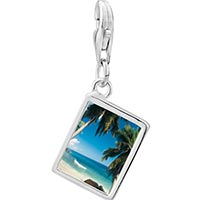 Link Charm Bracelet - 925  sterling silver tropical beach scene photo rectangle frame link charm Image.