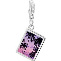 Link Charm Bracelet - 925  sterling silver tropical sunset photo rectangle frame link charm Image.