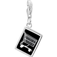 Link Charm Bracelet - 925  sterling silver shopping cart photo rectangle frame link charm Image.