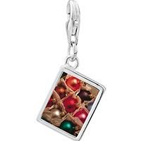 Link Charm Bracelet - 925  sterling silver christmas ornament balls photo rectangle frame link charm Image.