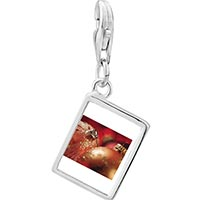 Link Charm Bracelet - 925  sterling silver christmas ornament glitter balls photo rectangle frame link charm Image.