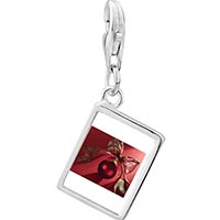 Link Charm Bracelet - 925  sterling silver red christmas ornament with ribbon photo rectangle frame link charm Image.
