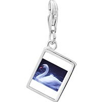 Link Charm Bracelet - 925  sterling silver swimming swan photo rectangle frame link charm Image.