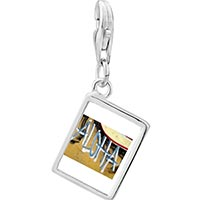 Link Charm Bracelet - 925  sterling silver aloha on the hawaii sand photo rectangle frame link charm Image.