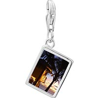 Link Charm Bracelet - 925  sterling silver tropical beach lifeguard hut photo rectangle frame link charm Image.
