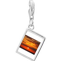 Link Charm Bracelet - 925  sterling silver sunset over the ocean photo rectangle frame link charm Image.