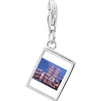 Link Charm Bracelet - 925  sterling silver american twin towers photo rectangle frame link charm Image.