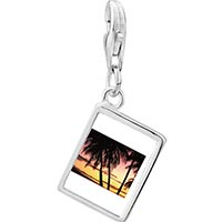 Link Charm Bracelet - 925  sterling silver palms under tropical sunset photo rectangle frame link charm Image.