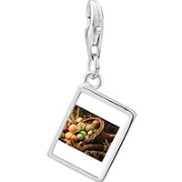 Link Charm Bracelet - 925  sterling silver thanksgiving horn of plenty photo rectangle frame link charm Image.