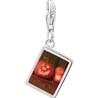 Link Charm Bracelet - 925  sterling silver smiling jack o lanterns photo rectangle frame link charm Image.