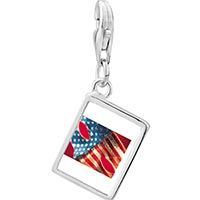 Link Charm Bracelet - 925  sterling silver usa flag mask photo rectangle frame link charm Image.