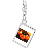Link Charm Bracelet - 925  sterling silver jack o lantern halloween pumpkin toys photo rectangle frame link charm Image.