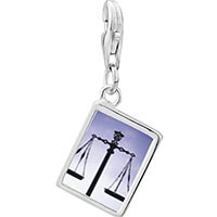 Link Charm Bracelet - 925  sterling silver scales of law and justice photo rectangle frame link charm Image.