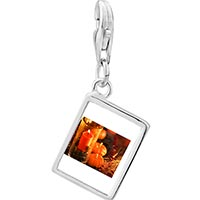 Link Charm Bracelet - 925  sterling silver jack o lantern halloween pumpkin and candle thanksgiving decorationsphoto rectangle frame link charm Image.