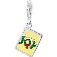 Link Charm Bracelet - 925  sterling silver snow covered joy photo rectangle frame link charm Image.
