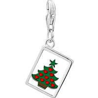 Link Charm Bracelet - 925  sterling silver red heart christmas tree photo rectangle frame link charm Image.