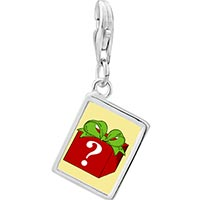 Link Charm Bracelet - 925  sterling silver mystery gift box photo rectangle frame link charm Image.
