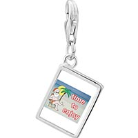 Link Charm Bracelet - 925  sterling silver santa at the beach photo rectangle frame link charm Image.