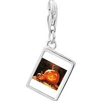 Link Charm Bracelet - 925  sterling silver smiling jack o lantern halloween pumpkin face lanterns photo rectangle frame link charm Image.