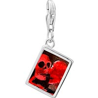 Link Charm Bracelet - 925  sterling silver halloween death skeleton photo rectangle frame link charm Image.