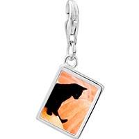 Link Charm Bracelet - 925  sterling silver black catphoto rectangle frame link charm Image.