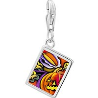 Link Charm Bracelet - 925  sterling silver art jack o lantern halloween pumpkinphoto rectangle frame link charm Image.