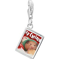 Link Charm Bracelet - 925  sterling silver christmas hamster with cookie photo rectangle frame link charm Image.