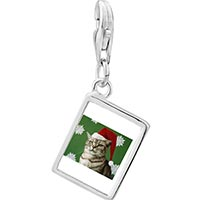 Link Charm Bracelet - 925  sterling silver christmas cat looking good photo rectangle frame link charm Image.