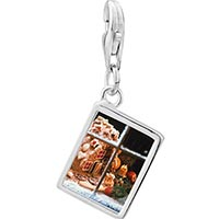 Link Charm Bracelet - 925  sterling silver christmas window display photo rectangle frame link charm Image.