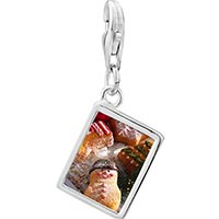 Link Charm Bracelet - 925  sterling silver decorated christmas cookies photo rectangle frame link charm Image.