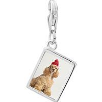 Link Charm Bracelet - 925  sterling silver shaggy santa dog photo rectangle frame link charm Image.