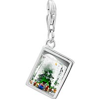Link Charm Bracelet - 925  sterling silver christmas tree ice cube photo rectangle frame link charm Image.