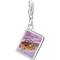 Link Charm Bracelet - 925  sterling silver gold wedding rings photo rectangle frame link charm Image.