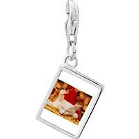 Link Charm Bracelet - 925  sterling silver sleeping santa kitten photo rectangle frame link charm Image.