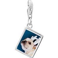 Link Charm Bracelet - 925  sterling silver pug dog christmas rudolph reindeer photo rectangle frame link charm Image.
